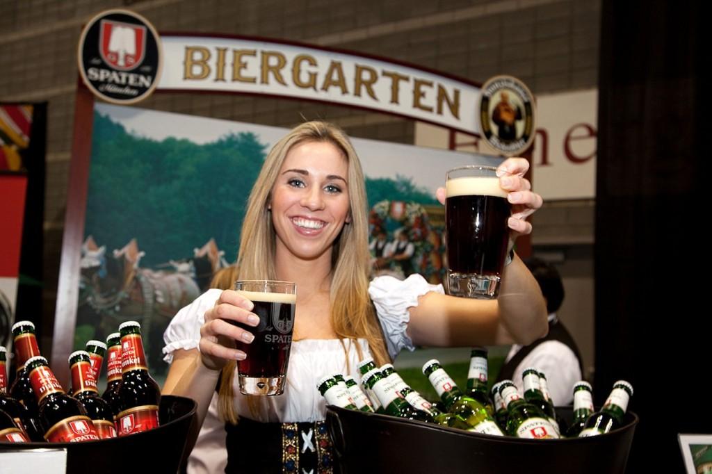 Frauleins serve frosty brews at the Spaten Biergarten