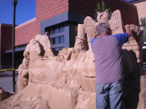 Pumpkin Carriage Sand Sculpture