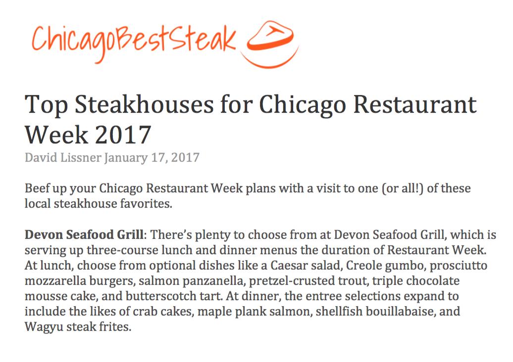 Devon Restaurant Week Menu Chicago